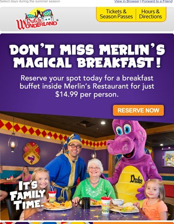Last Chance - Reserve a Character Breakfast!