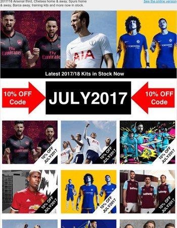 Latest 2017/18 Kit Now in Stock - Plus 10% OFF Coupon
