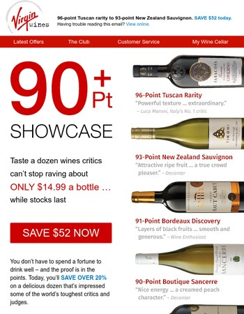 Stunning 90+ Point Wines (ONLY $14.99 a bottle!)