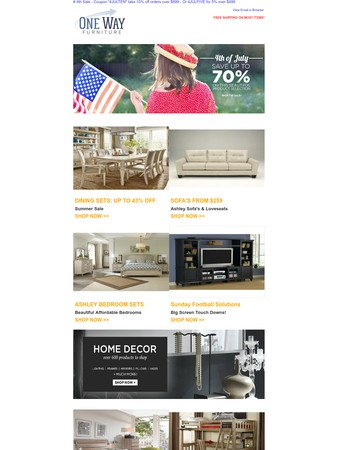 July 4th Furniture Sale - LAST CALL! - Coupon Code