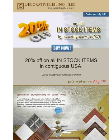 Time to buy SAVE 20% on all instock items - Expires July 14th