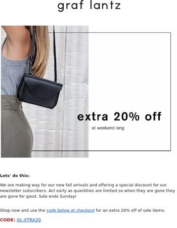 Extra 20% Off Sale Through Sunday
