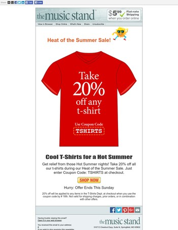 ♫ Cool T-Shirts for a Hot Summer at The Music Stand ♫