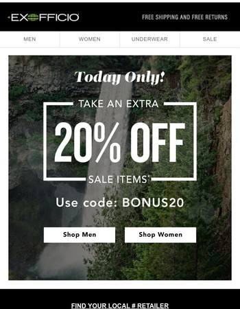 One Day Only: Take an Extra 20% off Sale