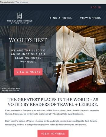 Travel + Leisure 2017 World's Best Award Winners