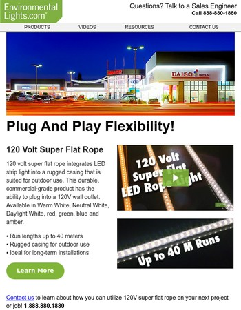 Up to 40m runs with 120V Super Flat LED Rope from Environmental Lights