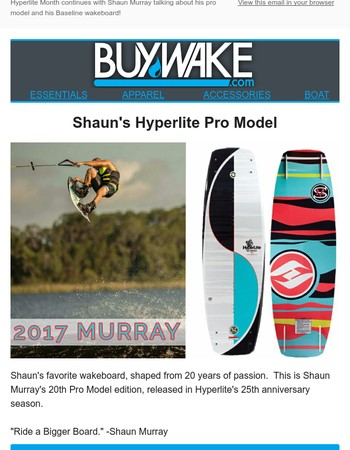 Watch!  Shaun Murray talks about and shreds his Hyperlite gear!