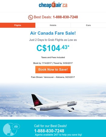 ✈ Air Canada Fare Sale! 2 Days Only!