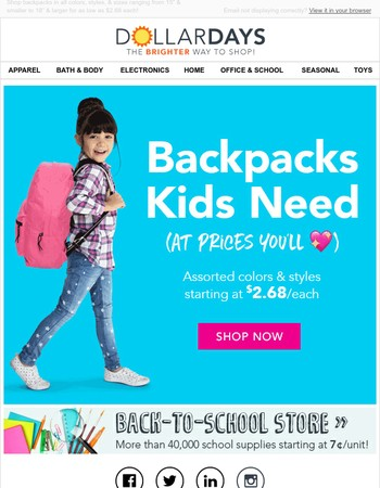 Hooray! Backpacks for $2.68 & Up!