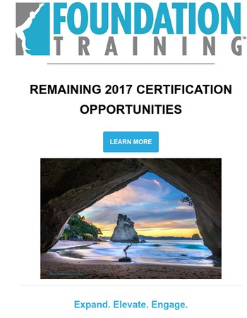 Remaining 2017 Foundation Training Certifications & Discovery Workshops