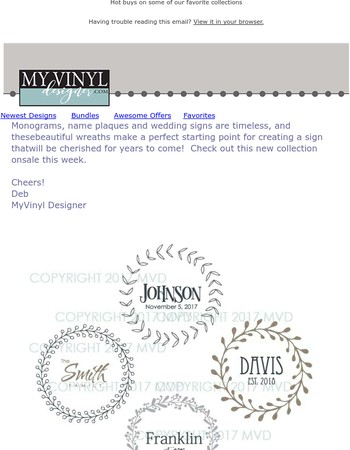 New Wreaths for Names and Monograms