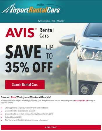 Save up to 35% on Rental Cars!