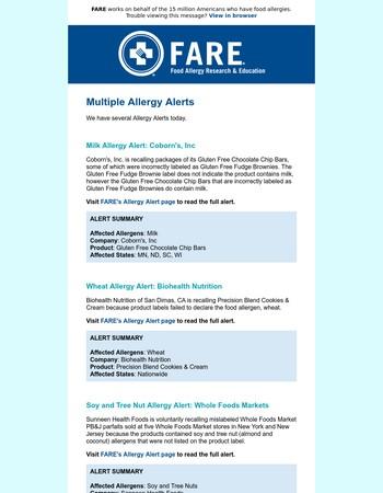 Multiple Allergy Alerts: Milk, Soy, Tree Nuts, Wheat