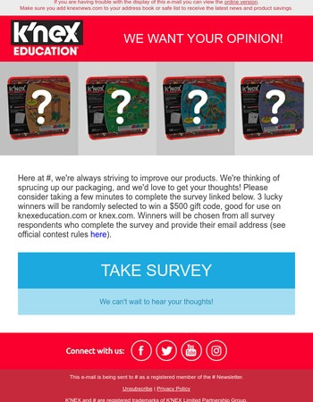 We'd love your feedback! Chance to win $500 of STEM sets for your classroom