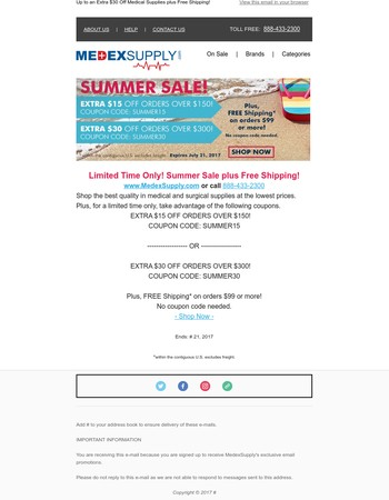 Limited Time Only!Summer Sale plus Free Shipping!