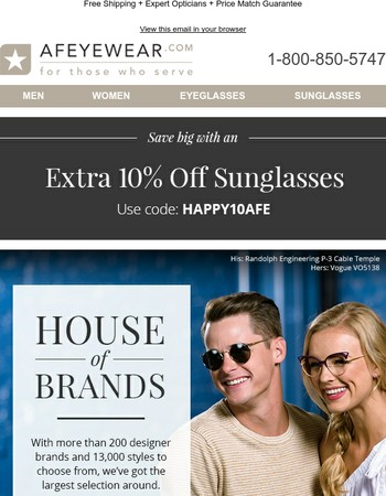 Awesome Selection of the Brands You Love + Extra 10% on Designer Sunglasses