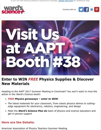 Mary, WIN FREE Physics Supplies at AAPT!