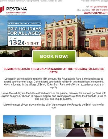 Summer holidays from only €132/night at the Pousada Palácio de Estoi