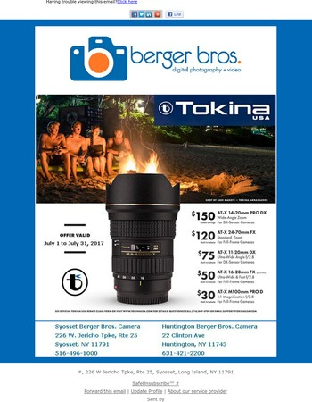 Tokina Lenses -  Instant & Mail-In Savings