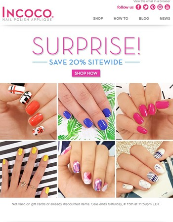 Get your nails summer ready, with 20% off sitewide!