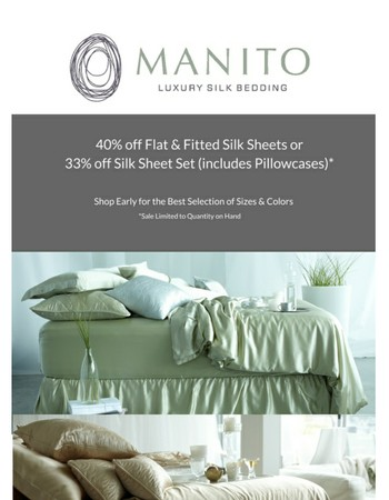, There's Still Time to Save 40% on Silk Sheets - Shop Early for Best Selection on Colors & Sizes (Limited to Quantities on Hand)