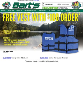 Want A Free Bart's Boating Vest? That's What We Thought. Here You Go.