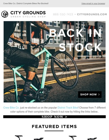 The Crew Bike Co. District Track Bike has been Re-Stocked!