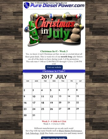 Enjoy HOT deals with our Christmas in July Sale!