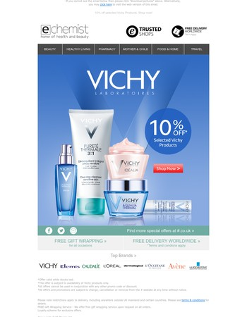 10% off selected Vichy Products. Shop now!