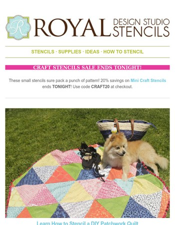Learn how to stencil a patchwork quilt + Mini Craft Stencil SALE almost over!