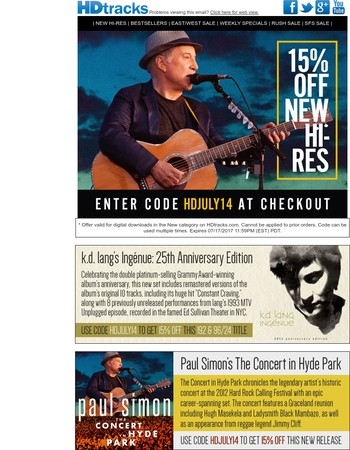 15% Off New Paul Simon, k.d. lang, Coldplay & Jimmy Page | Plus Classic East/West Sale