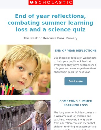 Use these self-reflection worksheets to review the academic year
