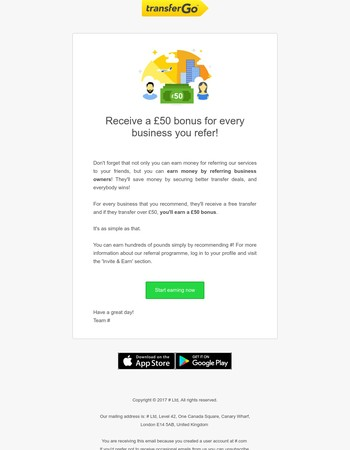 Invite a business and earn £50
