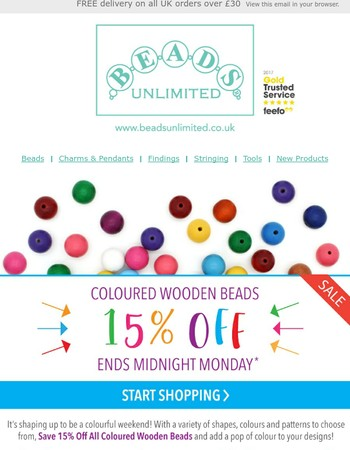 15% Off All Coloured Wooden Beads