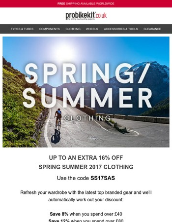 Up to an EXTRA 16% off Spring Summer 2017 Clothing...
