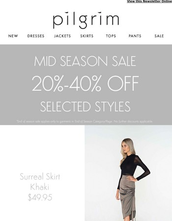 20%-70% Off Selected Styles | Shop The Mid Season Sale