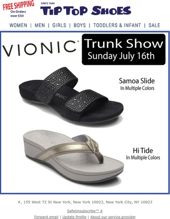 Vionic Trunk Show This Sunday!