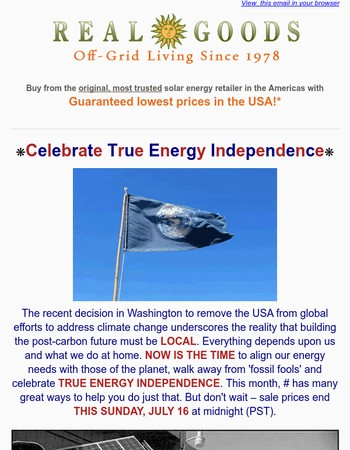 Celebrate True Energy Independence - Sale Ends in 2 Days