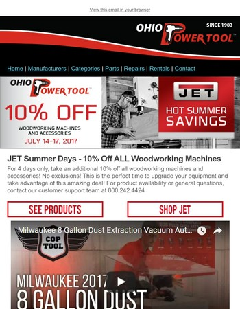 JET Woodworking Flash Sale - 10% off All Woodworking Machines