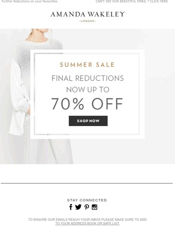 Final Reductions - up to 70% OFF