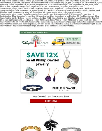 Final Day for 12% Off Phillip Gavriel Jewelry