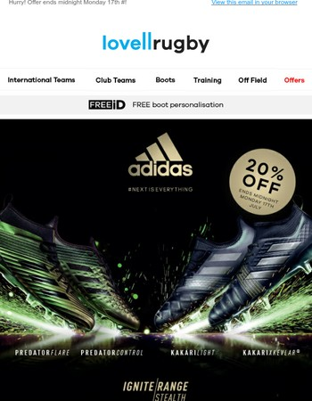 20% OFF adidas Ignite Invasion & Stealth Packs!