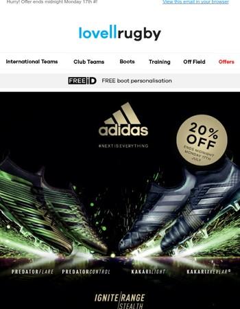 20% OFF adidas Ignite Invasion & Stealth Packs!