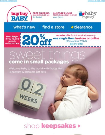 Get 20% off. Perfect presents for the new addition.