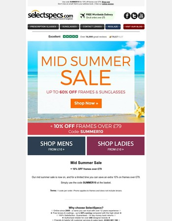 Mid summer sale now on + 10% off