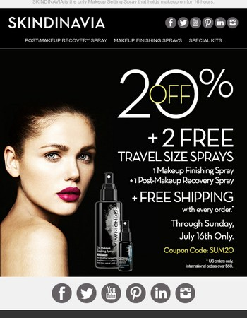 20% OFF Weekend Only Sale! 2 FREE Sprays + Shipping!