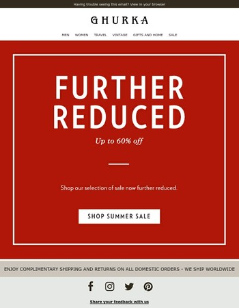 Further Reductions on Sale Merchandise