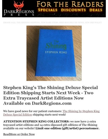 The Shining Shipping, EBOOK SALE, New DRP Policy, Production Updates, Bird Box Update and More!
