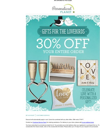 30% Off Personalized Wedding Gifts and More!