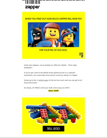 Get £7 per KG for used LEGO at Zapper, The UK's Highest Fixed Price